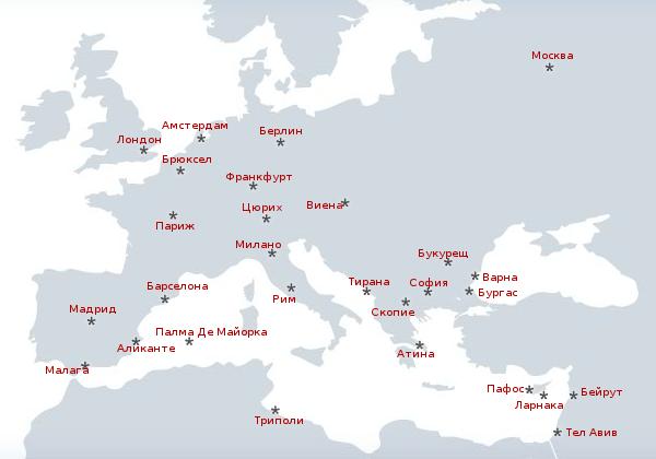 Картата на Европа според България Еър